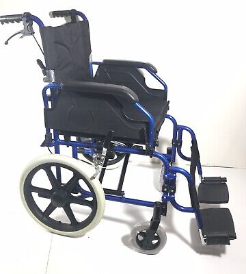 Folding Transit Transport Wheelchair Fully Featured Lightweight Only 12kg NEW