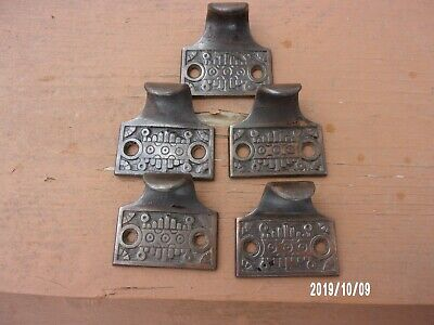 5 Antique Vtg Matching Brass Plated Ornate Window Sash Lifts Pulls