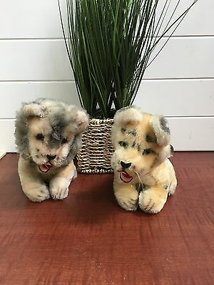 Vintage Set Of 2 Mohair Stuffed Animal Toy Lion And Tiger Made In Japan~ Kamar?