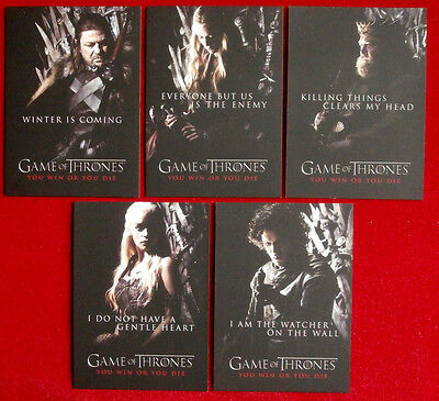 "GAME OF THRONES - ""You Win Or You Die"" CHASE SET - ALL 5 CARDS, Rittenhouse 2012"