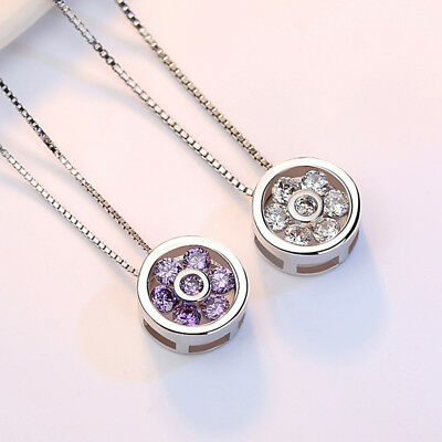 925 Sterling Silver Crystal Flower Round Pendant Necklace For Fashion Women