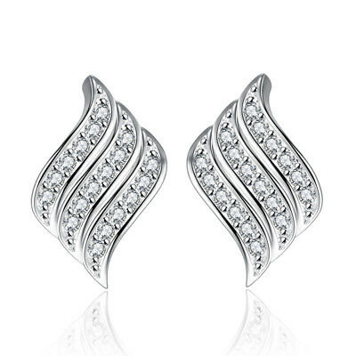 925 Sterling Silver Austria Crystal Angel Wing Stud Earrings For Women Wedding