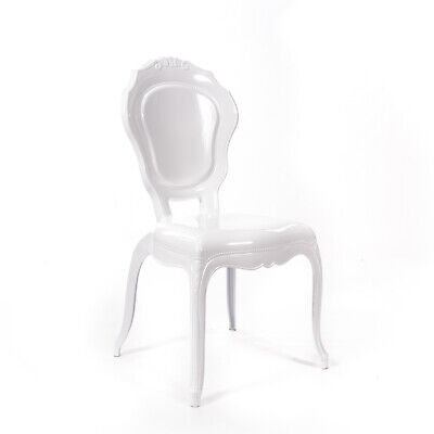 White Gloss French Style V2 Dressing Room DiningChair Quality Louis Rococo Chair