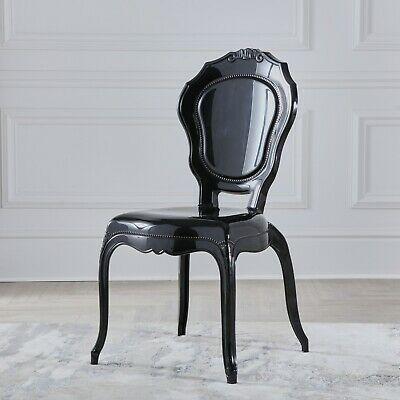Black Gloss French Style V2 Dressing Room DiningChair Quality Louis Rococo Chair