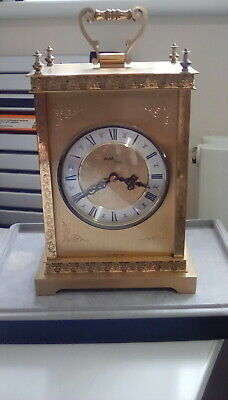 BRASS MANTLE CLOCK Stunning Vintage Large Avia Quartz