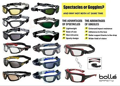 Bolle Safety Glasses Spectacles & Goggles TWO in One RUSH TRACKER BAXTER ULTIM8