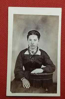FINE CDV of Civil War era WOMAN w/MOURNING Jewelry? CHUNKY NECKLACE & CROSS
