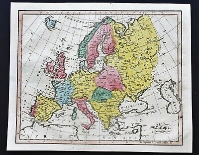 1815 Europe Map England Germany Russia Turkey Italy Spain Hungary RARE ORIGINAL