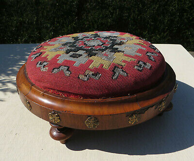 Victorian Style Beadwork & Woolwork Foot Stool - For Spares Repair Restoration