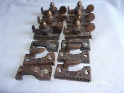 6 Antique Vtg Window Lock Sash Sets Large Solid Brass Ornate Double Lock Rare