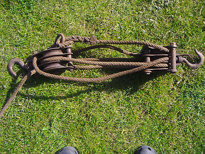 Vintage Block & Tackle over 60ft Rope Hooks 3 gear Pulleys Antique Old Tools
