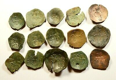Lot Of 15 Ancient Byzantine Cup Coins - 01