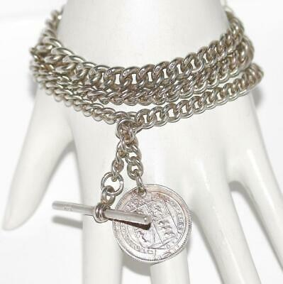 Antique Victorian Sterling Silver Watch Chain Fob Bracelet Necklace hm H Potter