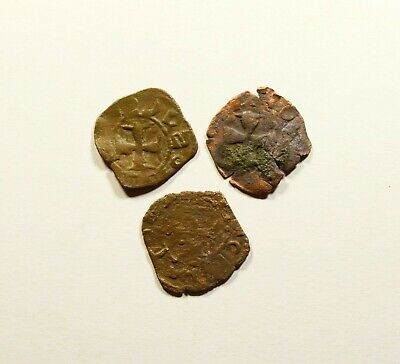 Medieval Crusaders Coins with Cross - LOT OF 3