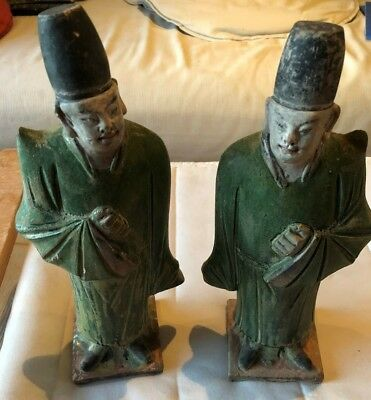Pair of 16th century Chinese Ming Sancai Glazed Dignitary Guardian Figures