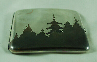 Antique Japanese Mixed Metal Cigarette Case Signed 74g A602017