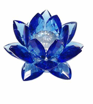 3 inch Sapphire Hue Reflection Crystal Lotus with Gift Box