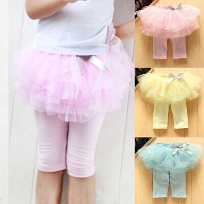 Children Girls Skirt Culottes Leggings Gauze Pants With Bow Dance Party Skirts