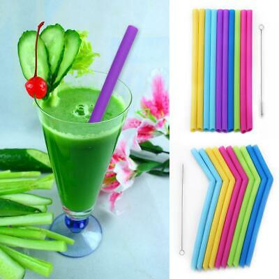 10pcs Reusable Food Grade Children Kids Silicone Straw Straw with Cleaner Brush