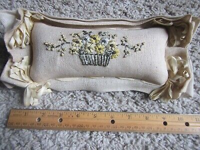 """Antique Victorian Hand Embroidered 5.5"""" X 11"""" Sewing Needle Pin Cushion"""