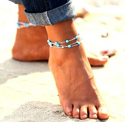 Womens Turquoise 3 Layer Beaded Ankle Bracelet Anklet Anklets Beach Jewellery UK