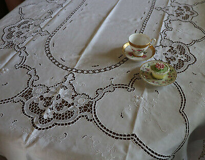 """Vintage Madeira Embroidered Cut Work Lace Tablecloth 116"""" by 65"""" White"""