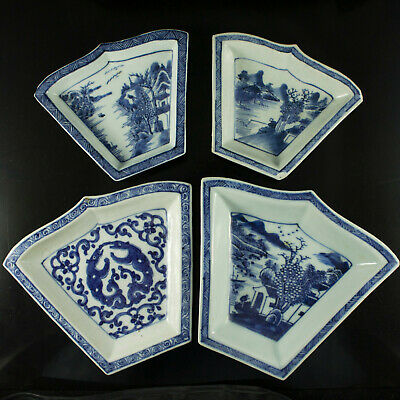 Antique Chinese Blue White Porcelain Sweet Meat Plates Dishes Landscape Painting