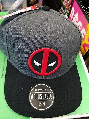 finest selection b486e 7942c Deadpool Logo Chrome Weld Marvel Comics Snap Back Curved Bill Hat Nwt