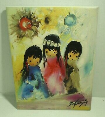 Vintage Ted DeGrazia Little Queens Children Of the Sun Painted Tile Art Picture