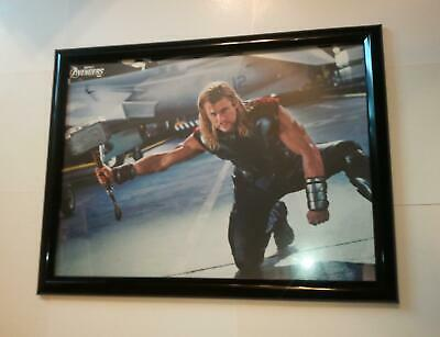 Avengers Poster #196 FRAMED Movie Thor w/ Mjolnir on Knee Chris Hemsworth Marvel