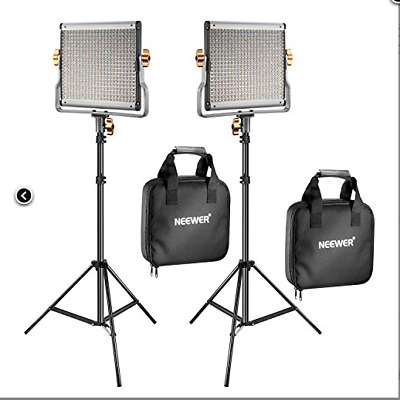 """Neewer 2 Packs Dimmable Bi-Color 480 LED Video Light and Stand Lighting Kit, 75"""""""