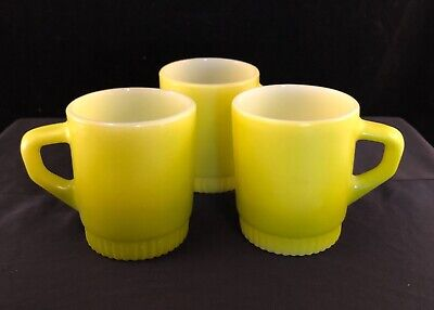 Anchor Hocking Fire King Lime Green Ombré Mug D Handle Stackable Vintage