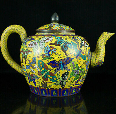 Antique Signed Chinese Imperial Yellow Cloisonne Bronze Teapot Butterfly Pot