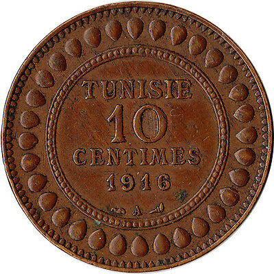 1916 (AH1334) Tunisia (French) 10 Centimes Coin KM#236