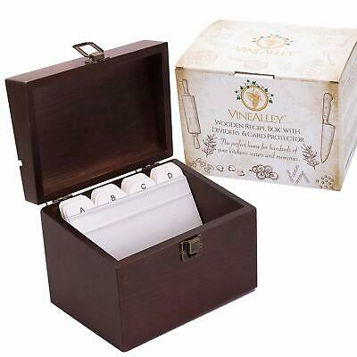 Handcrafted Vintage Wood Recipe Box with 4x6 Recipe Cards Dividers & Kitchen