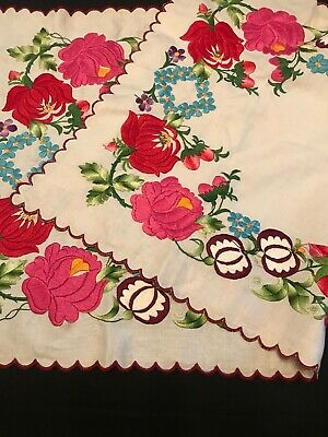 Antique Exquisite Raised Jacobean Floral Embroidery on Linen Table Topper Runner