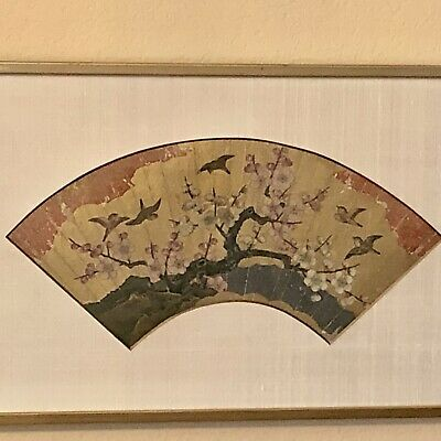 ANTIQUE JAPANESE FAN PAINTING, HAND PAINTED, MOUNTED, FRAMED, PLUM BLOSSUM c1800