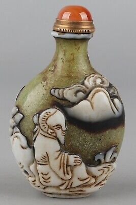 Chinese Exquisite Handmade ancient figure carving Glass snuff bottle