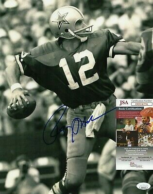 Roger Staubach Signed 11x14 Photo w/ JSA COA DD24276 Dallas Cowboys Navy