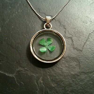 Lucky Four Leaf Clover Glass Irish Necklace Pendant Charm Collectible Gift