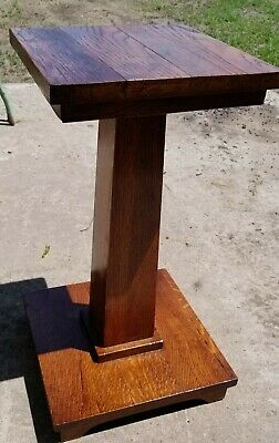 Oak Mission Plant Stand Antique Arts and Crafts Wood Pedestal Table