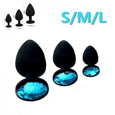 d718c5abf Blue Butt Toy Plug Anal Silicone Jeweled Gem 3 Size Set Suction Cup S M L  Lot