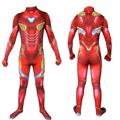 Iron Man Tony Stark Cosplay Tights Costume Avengers Endgame Zentai Bodysuit New