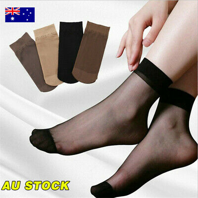 10 Pairs Women Sheer Transparent Ankle High Trouser Thin Socks One Size