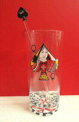 Barware QUEEN OF SPADES with Swizzle Stick Mixer Card Player Drinking Glass