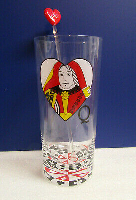 Barware QUEEN OF HEARTS with Swizzle Stick Mixer Card Player Drinking Glass