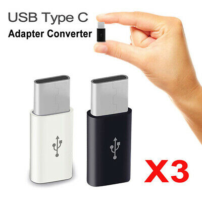 3PC USB Type C Male Connector to Micro USB Female Converter USB-C Adapter OTG