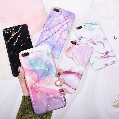 Case For iPhone 8 7 6 Plus XS Max XR Glossy Bling Marble Shockproof Gel Cover