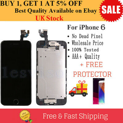 For iPhone 6 LCD Screen Replacement Digitizer Touch Camera Home Button Black UK