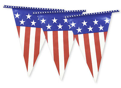 USA Bunting 20 Flags American America 10M Stars Rugby 4th July White Red Blue